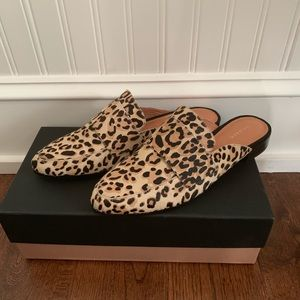 New Halogen Leopard Haircalf Mules, Size 8.5